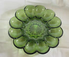 Vintage Anchor Hocking Fairfield Green Glass Deviled Egg Plate Dish Platter 10