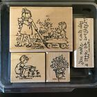 Stampin Up FRIENDSHIP GROWS 4 pc Wood mounted rubber stamps Friends Flowers