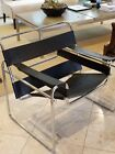 Wassily, Marcel Breuer Style Chair, Chrome/Black Leather, Mid-Century Modern