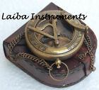 OLD ANTIQUE BRASS SUNDIAL COMPASS VINTAGE PUSH BUTTON SUNDIAL COMPASS GIFT
