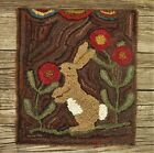 PRIMITIVE WOOL HOOKED RUG/ FOLK SPRING RABBIT/ BUNNY WITH LAMB TONGUES SALE!