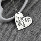 Love Heart Pendants Teachers Necklace Gifts Charms Jewelry Silver Tone Chain