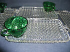 4 Anchor Hocking Serva Snack Sets 8 Pieces Forest Green Cups Crystal Trays