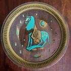 VTG MID CENTURY FRED PRESS TROJAN HORSE GLASS ServingPLATE Gold Turquoise ROUND