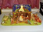 Vintage 1940s Cardboard Christmas Nativity Manger Scene Set Decor Christian