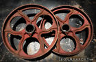 ANTIQUE FACTORY CART WHEELS, Industrial Lineberry Coffee Table Cast Iron Vtg