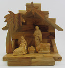 Olive Wood Holy Family Christmas Nativity Set W Stable Made in Bethlehem Israel