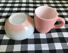 Vintage pair of pink Hazel Atlas mug and pink Fire King berry bowl