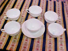 Vitrock Alice Anchor Hocking Cups and Saucer Lot of 7 Pieces White Raised Flower