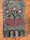 Hand Made Primitive Style Hooked Rug Folk Art Hearts And Posies