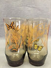 8 Vintage Libbey Butterfly Glasses Smokey Topaz Tumblers Drinking Glasses 12 oz.