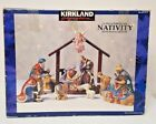 Kirkland Signature 12pc Nativity Set 75177 Blue Box Wood Creche Manger missing