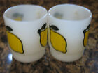 FireKing Lemons, 2 (Two)Stackable Coffee Tea Cup Mugs