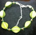 Rubberized beaded Faceted Oval Btacelet 7 1/2 inches adjustable