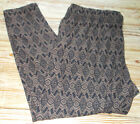 "MAURICES WOMENS 3 3X BLACK BROWN TRIBAL PANTS INSEAM 27"" SOFT LEGGGINGS"