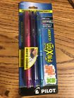 Pilot FriXion Clicker Erasable Gel Pens Fine Point Pink Purple  Blue 3 Pack