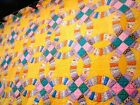 Vtg 1930's Double Wedding Ring Quilt hand quilted pastel yellow