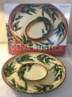Clay Art RUSTICIA OLIVE 2 Piece Hand Painted Chip  Dip Set 17 1 2 In Box