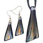 Silver Black Blue Triangle Lampwork Glass Murano Pendant Necklace Earrings Set
