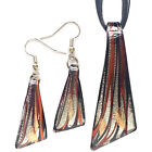 Silver Black Red Triangle Lampwork Glass Murano Pendant Necklace Earrings Set