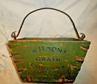 ANTIQUE WILSON GRAIN COMPANY WOOD BERRY BUCKET WROUGHT IRON BAIL
