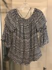 Womens Blouse By White House Black Market Cream Blue And Black Print Size Med