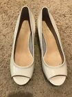 Cole Haan Size 7.5 White Wedge Peep Toe! Lightweight! Summer!