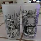 Vintage Set of Two Frosted Colonial Scene Glasses