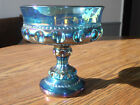 INDIANA GLASS IRIDESCENT BLUE CARNIVAL GLASS PEDESTAL CANDY DISH, CIRCA 195Os
