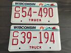 Lot of (2)  WISCONSIN WIS WI TRUCK License Plate Plates White Red NICE