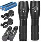 2PC 20000LM Led Flahlight 18650Batt T6 Rechargeable Charger AAA Holder Bike Clip