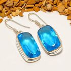 """MAGNIFICENT BLUE TOPAZ GEMSTONE ETHNIC SILVER PLATED EARRING 1.77"""" E-520"""