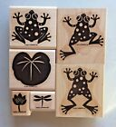 Stampin Up DEFINITELY DECORATIVE LEAPFROG Rubber Stamp Dragonfly Flowers Lilypad
