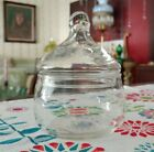 Clear Apothecary Dish Vintage Candy Jar - thin glass with lid unknown age origin
