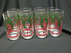 CHRISTMAS GLASS TUMBLERS WITH WREATH DESIGN SET OF 8 5 1/2