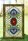 Decorative Jeweled Handcrafted stained glass panel 205 x 345