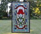 205 x 345 Handcrafted stained glass window panel one big Rose Flower