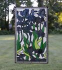 205 x 345 Handcrafted stained glass window panel Iris Flowers