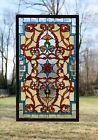 Handcrafted Jeweled Beveled stained glass window panel 205W x 345H