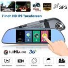 "7"" Dual Lens Bluetooth 3G WiFi Android Car Rearview Mirror DVR Player GPS Nav"