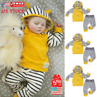 US Newborn Baby Boys Girls Hooded Shirt Tops+Pants Outfits Toddler Clothes Set