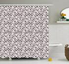 Chevron Pattern Shower Curtain Fabric Decor Set with Hooks 4 Sizes