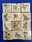 Stampin Up Flower of the Month Set Wood Rubber Stamps lot of 12