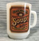 Aunt Jenny Soup Mug USA Vintage Milk Glass Cup Fire King Collectible