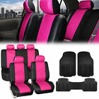 Pu Leather Car Seat Covers Black All Weather Floor Mats - Full Interior Set