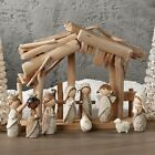 RAZ Imports 10 Piece Nativity with Wooden Creche Children Resin Christmas New