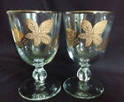 Pair Vintage 1960s GOLD LEAVES on Bowl Water Goblets by LIBBEY GLASS CO. #8900