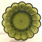 Vintage 50's Indiana Green Glass Deviled Egg Serving Dish Tray Hobnail Plate