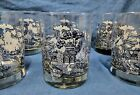 6 Vtg  Blue Willow Double Old Fashion Glass Tumblers 12 oz 4 1/4