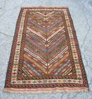 VTG. Caucasian Handmade Rug Geometric Stripes Great Colors Blends with Antiques